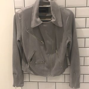 Olivaceous grey motto jacket with silver zippers